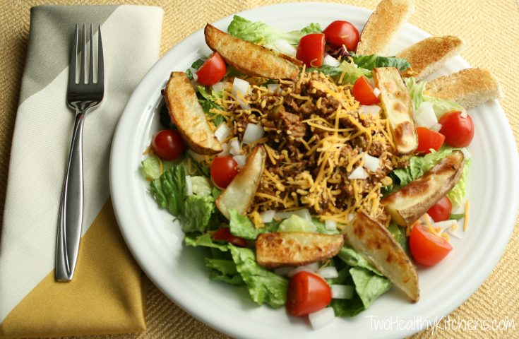 Cheeseburger Salad with Oven-Roasted Fries