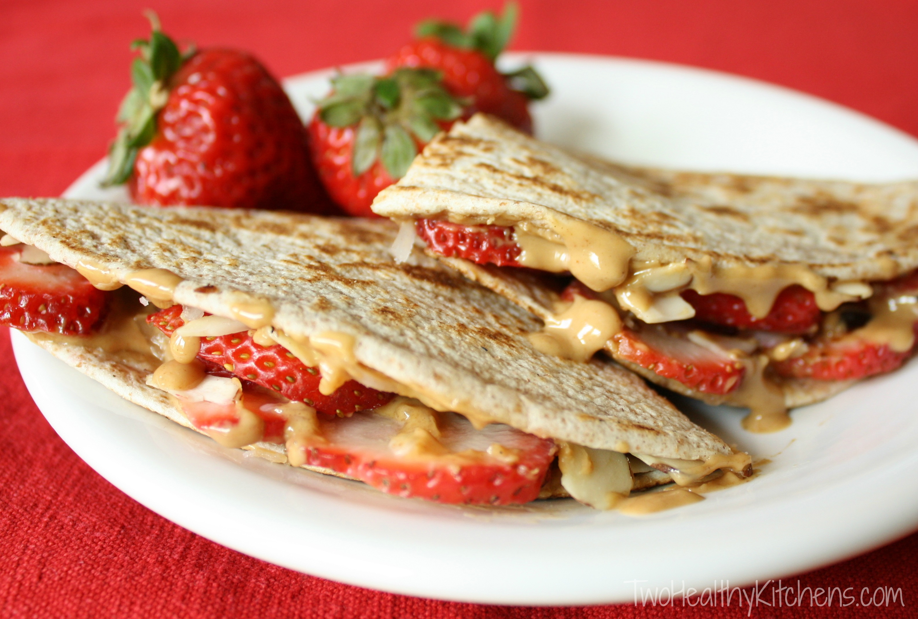 Strawberry-Peanut Butter Quesadillas Recipe {www.TwoHealthyKitchens.com}