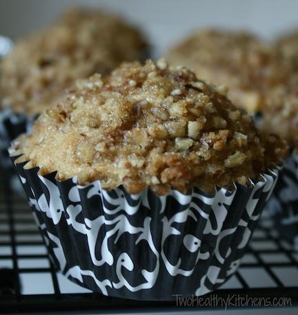 Praline Peach Muffins Recipe {www.TwoHealthyKitchens.com}