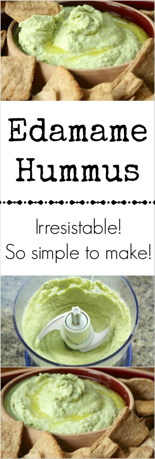 Inspired by Trader Joe's edamame hummus, this delicious and healthy hummus recipe combines edamame with tahini, lemon juice and garlic. So easy, so yummy! | healthy snacks | appetizer recipe | easy snacks | snacks for party | www.TwoHealthyKitchens.com