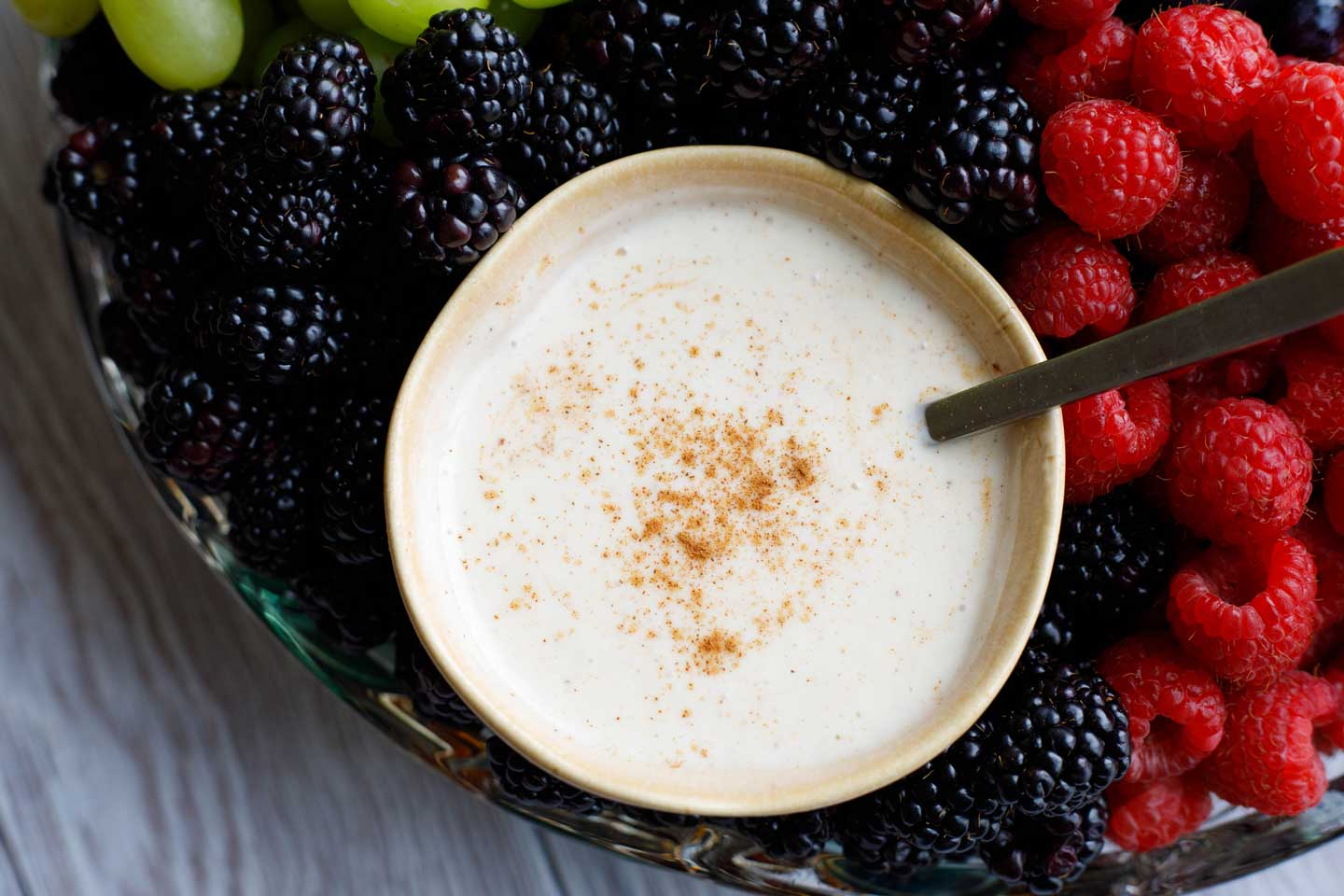 Healthy Sugared-Vanilla Yogurt Fruit Dip | www.TwoHealthyKitchens.com