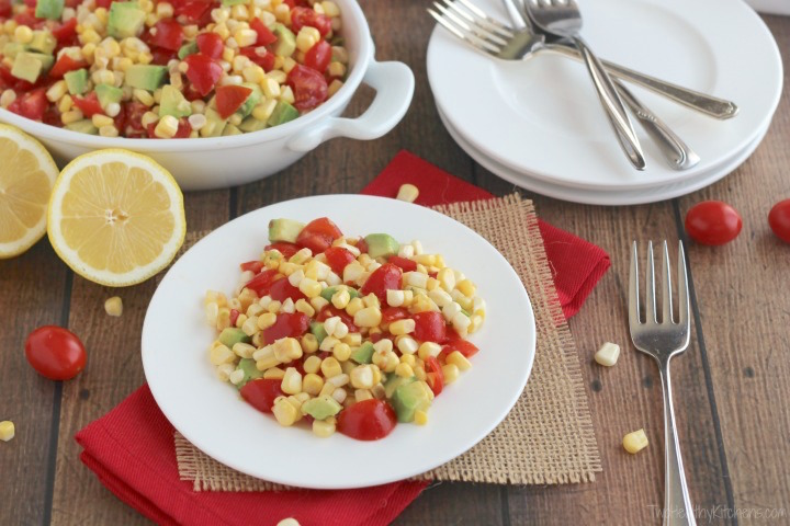 No-Cook Fresh Corn, Tomato and Avocado Salad Recipe {Two Healthy Kitchens}