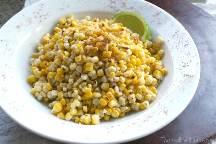 Four-Ingredient Grilled Corn Salad with Nonfat Chili-Lime Dressing Recipe {Two Healthy Kitchens}