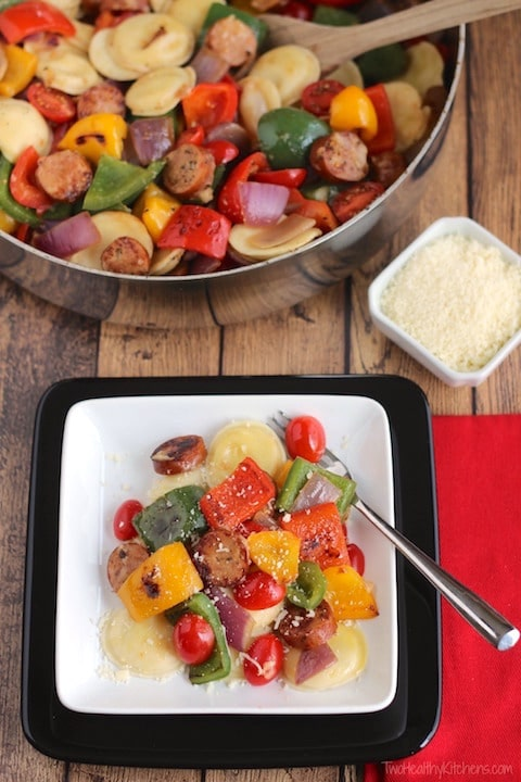 Lightning-Fast Cheesy Three-Pepper Ravioli with Italian Sausage Recipe {www.TwoHealthyKitchens.com}