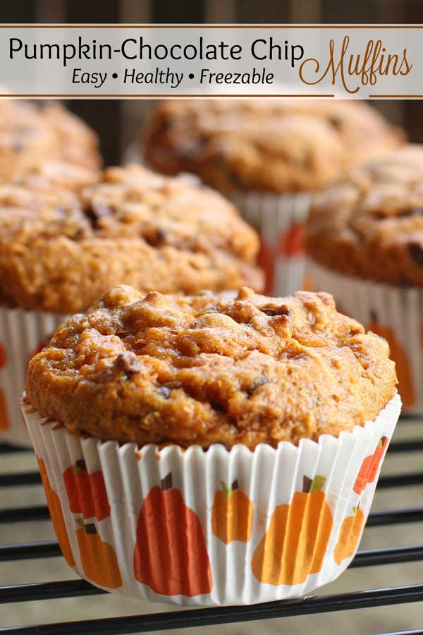 Everyone asks for this recipe! Fall flavors of pumpkin and cinnamon, with bursts of creamy chocolate and {optional} swirls of date caramel filling! These Healthy Pumpkin Chocolate Chip Muffins are ridiculously good! Bonus: they're freezable – so stock up for quick snacks and meal prep! Or bake 'em as mini muffins for playdates and school parties! | pumpkin recipes | pumpkin muffins | muffins healthy | muffin recipes | date caramel | freezer meals | #pumpkin #muffins | www.TwoHealthyKitchens.com
