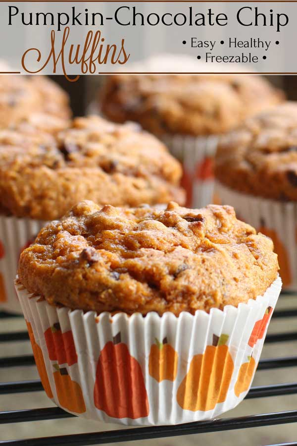 """Wonderfully decadent, with bursts of creamy chocolate and {optional} swirls of sweet, date caramel filling! These Healthy Pumpkin Chocolate Chip Muffins are so ridiculously good! Try them for make ahead, grab-and-go breakfasts (they freeze great), or bake 'em up as darling """"mini"""" muffins for quick snacks! 