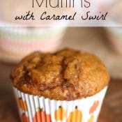 Pumpkin-Chocolate Chip Muffins with Caramel Swirl (With Make-Ahead and Mini Options!)