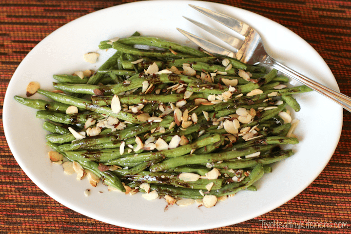 Roasted Green Beans with Balsamic-Browned Butter Recipe {www.TwoHealthyKitchens.com}