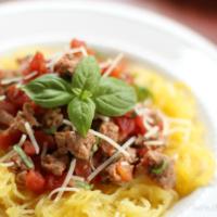 Parmesan Spaghetti Squash with Italian Sausage