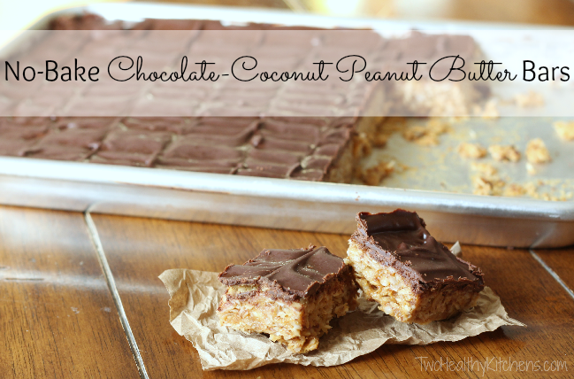 THK No-bake Chocolate coconut peanut butter bars text