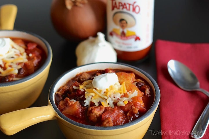 Crock-Pot Crazy Pineapple Chili Recipe {www.TwoHealthyKitchens.com}