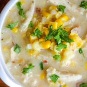 Crock Pot Corn Chowder with Chicken and Bacon