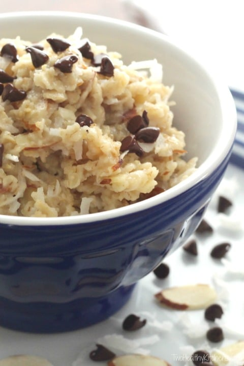 Almond Joy Oatmeal Recipe {www.TwoHealthyKitchens.com}