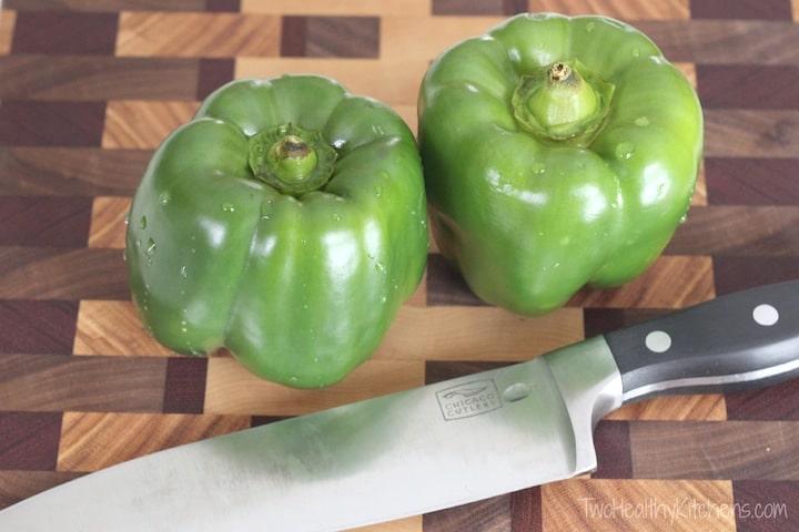 Un-Stuffed Green Pepper Skillet Recipe {www.TwoHealthyKitchens.com}