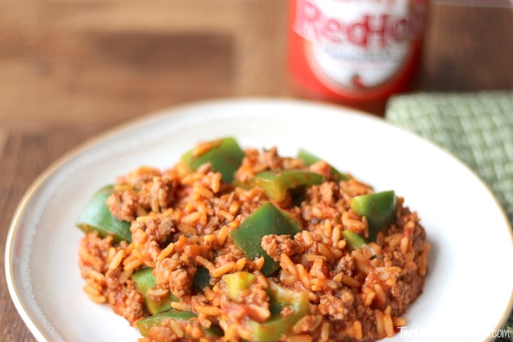Un-Stuffed Green Pepper Skillet Recipe {www.TwoHealthyKitchens.com}