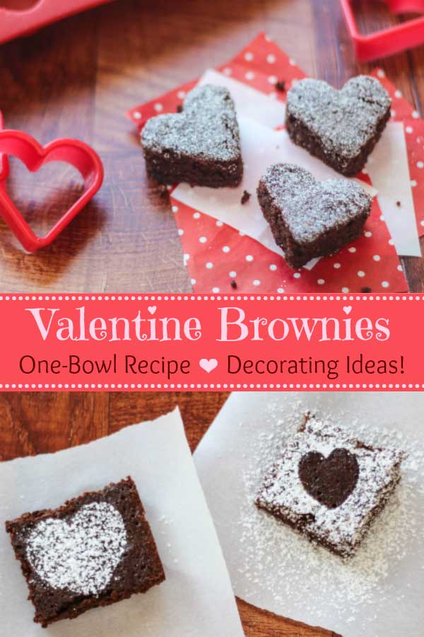An easy Valentine's Day dessert recipe - these one-bowl brownies are so quick and simple! And, they're full of deep, dark, fudgy flavor … totally decadent! Bonus: they're made with whole wheat and are so much healthier! Plus we've got great Valentine's Day decorating ideas – so cute and fun! | #Valentines #brownies #Valentine #wholewheat #ValentinesDay #healthybrownies #hearts #healthyrecipes #healthydessert #healthytreats | www.TwoHealthyKitchens.com