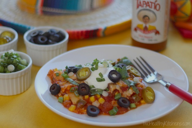 Easy Mexican Ravioli Lasagna Recipe (Just 5 Ingredients and No Thawing or Boiling!) {Two Healthy Kitchens}