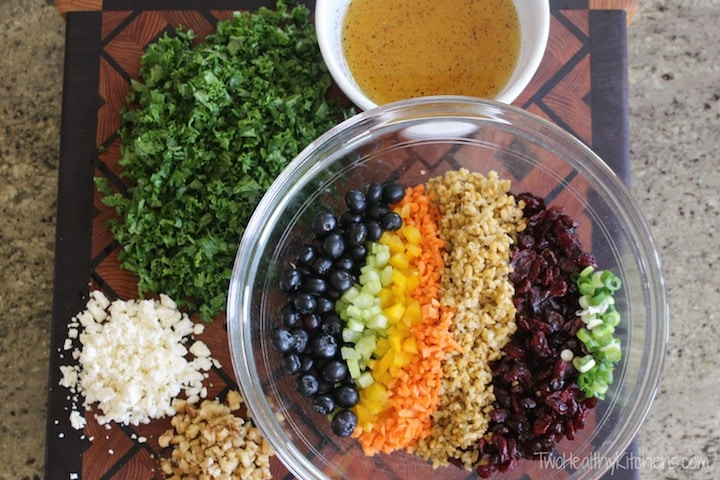 Kale Chopped Salad with Berries and Freekeh (or Quinoa)