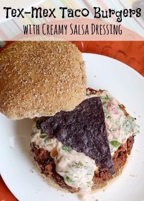Tex-Mex Taco Burgers with Creamy Salsa Dressing