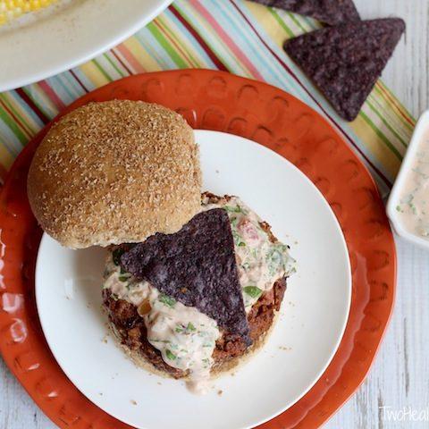 Tex-Mex Taco Burgers with Creamy Salsa Dressing