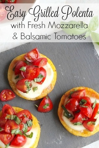 Easy Grilled Polenta with Fresh Mozzarella and Balsamic Tomatoes Recipe {www.TwoHealthyKitchens.com}