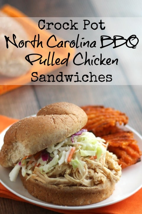 Crock-Pot North Carolina BBQ Pulled Chicken Sandwiches Recipe {www.TwoHealthyKitchens.com}