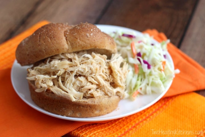 Crock-Pot North Carolina BBQ Pulled Chicken Sandwiches Recipe {www.TwoHealthyKitchens.com}