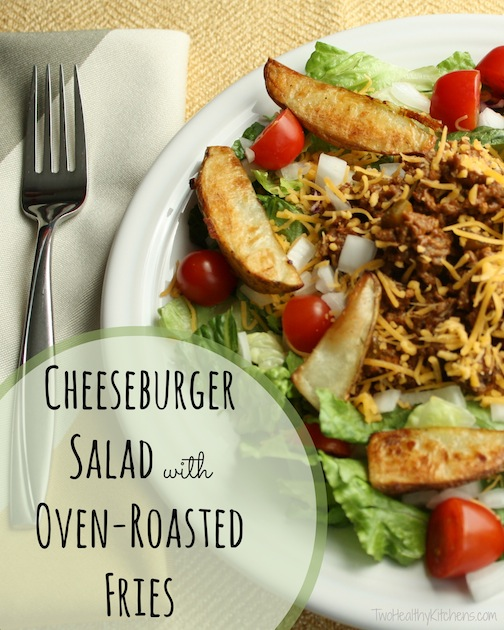 Our lightened-up Cheeseburger Salad recipe has all the flavors of a juicy cheeseburger and a side of fries, and can be mostly made ahead for busy evenings! | salad recipe | www.TwoHealthyKitchens.com