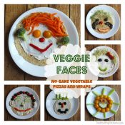 """Veggie Faces"" No-Bake Vegetable Pizzas and Wraps"