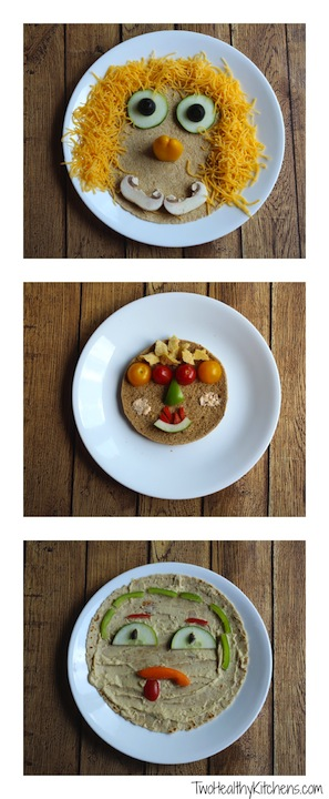 """Veggie Faces"" No-Bake Vegetable Pizzas and Wraps Recipe {www.TwoHealthyKitchens.com}"