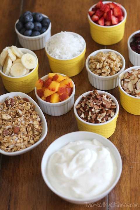Healthy Yogurt Parfait Party Snacks Recipe {TwoHealthyKitchens.com}