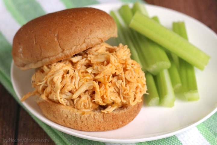 Healthy Crock-Pot Buffalo Chicken Sandwiches Recipe {www.TwoHealthyKitchens.com}