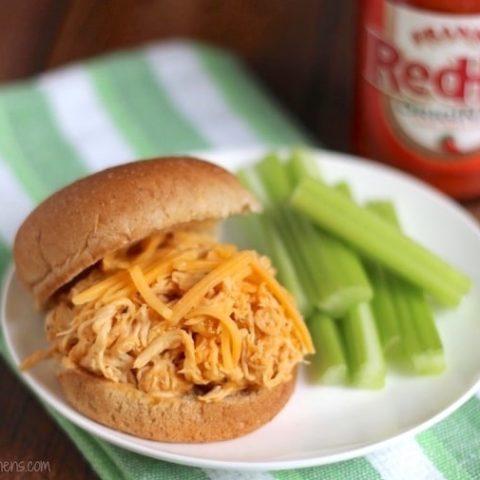 Healthy Crock-Pot Buffalo Chicken Sandwiches