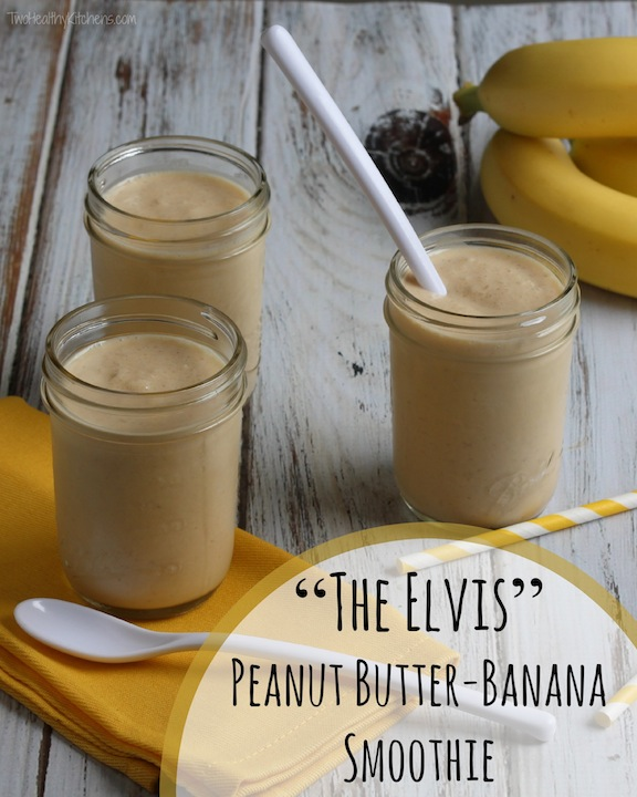 Pinnable photo of three smoothies with text overlay of the recipe title.