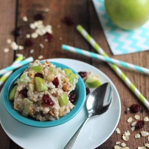 10-Minute, No-Cook Overnight Oats with Apples, Cranberries and Cinnamon