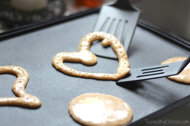 Easy Tricks for Making Pancake Shapes and Numbers {www.TwoHealthyKitchens.com}