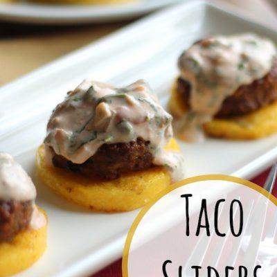 Taco Burger Sliders on Polenta