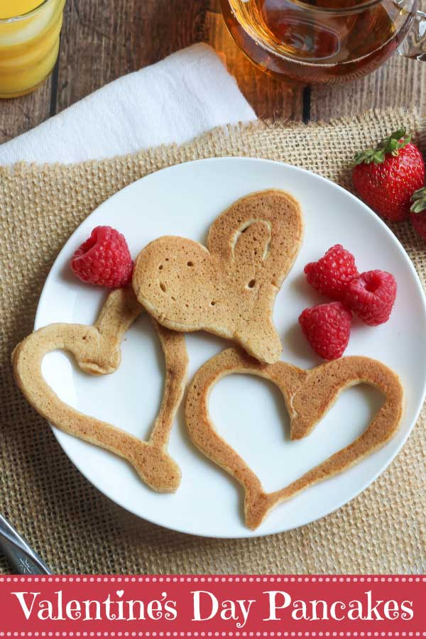 "Say ""Happy Valentine's Day"" with these fun heart-shaped pancakes! The perfect way to start the day! Easy tips and tricks for making pancake hearts, plus lots of other shapes and numbers, too. Great ideas for birthdays, back-to-school, and other special holiday mornings. Or, make any day special with your kids' initials or names - they'll love it! #Valentine #pancakes #Valentines #funfood #ValentinesDay #cookingtips #hearthealthy #healthybreakfast #cookinglesson 
