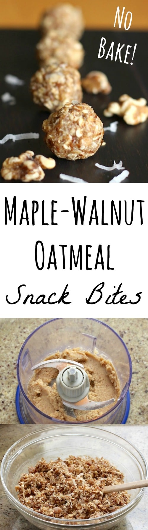 No-Bake Maple-Walnut Oatmeal Snack Bites Recipe {www.TwoHealthyKitchens.com}
