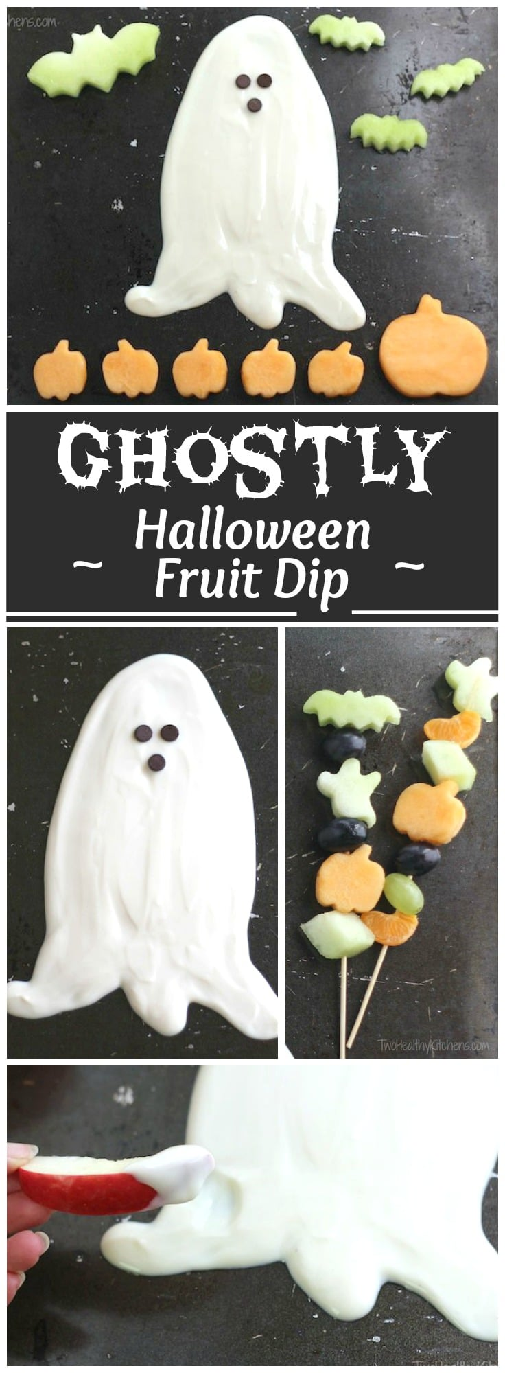 Just 3 ingredients! A quick, easy, healthy fruit dip – perfect for Halloween parties and fall snacks! It's a delicious appetizer dip AND a party decoration! | www.TwoHealthyKitchens.com