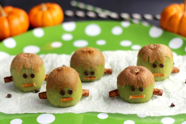 Frankenstein Kiwis Recipe – (Another!) Healthy Halloween Treat {www.TwoHealthyKitchens.com}