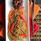"Hoisin-Glazed Mini Meatloaf ""Muffins"" Over Asian Noodles and Vegetables"