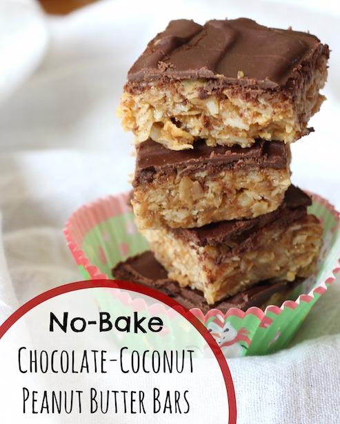 No Bake Chocolate Coconut Peanut Butter Bars