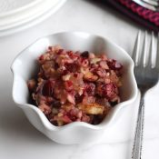 Easy Cranberry Sauce with Apples, Pecans and Pineapple (5 Minutes and No Cooking!)