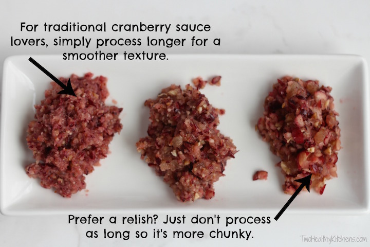Easy Cranberry Sauce with Apples, Pecans and Pineapple Recipe (5 Minutes and No Cooking!) {www.TwoHealthyKitchens.com}