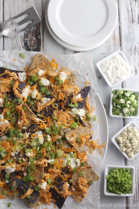 35 Easy Party Food Appetizer Recipes - Buffalo Chicken Nachos Recipe | www.TwoHealthyKitchens.com