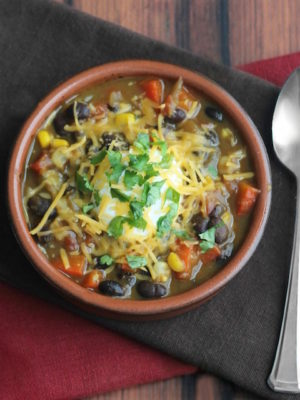 Quick Stovetop Vegetarian Chili with Red Peppers, Corn and Black Beans