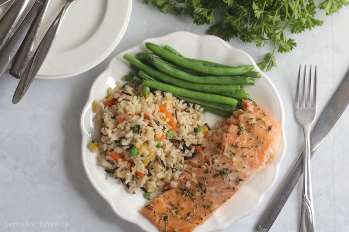 Easy Honey-Glazed Salmon Recipe {www.TwoHealthyKitchens.com}