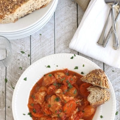 Creamy Crock Pot Chicken Stew with Potatoes, Carrots and Tomatoes