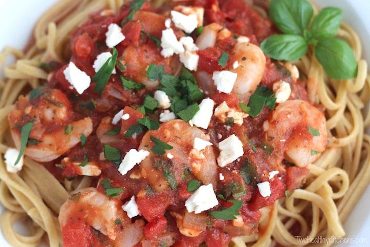 Super-Fast Herbed Mediterranean Shrimp Pasta Recipe {www.TwoHealthyKitchens.com}